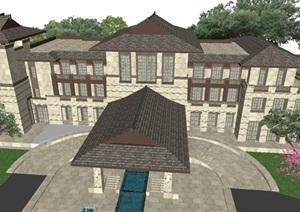 东南亚风格商业会所建筑与景观方案SU模型