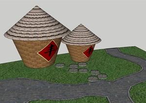 4个农家乐景观小品SU模型
