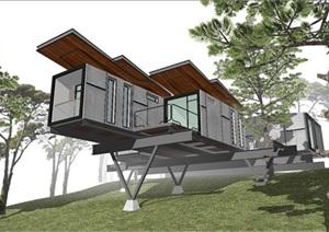 现代山顶集装箱别墅建筑方案SU模型