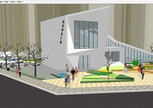 现代茂业售楼部建筑方案SU模型