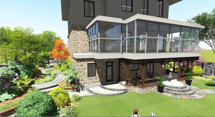 乡村美式庭院模型(4)