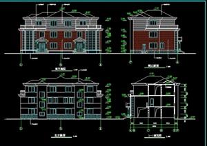 双拼别墅建筑设计cad施工图