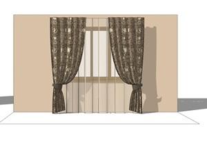 现代室内详细的窗帘素材SU(草图大师)模型