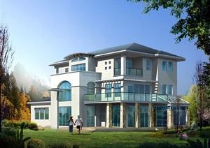 某欧式详细独栋别墅cad图纸、效果图、3DMAX模型