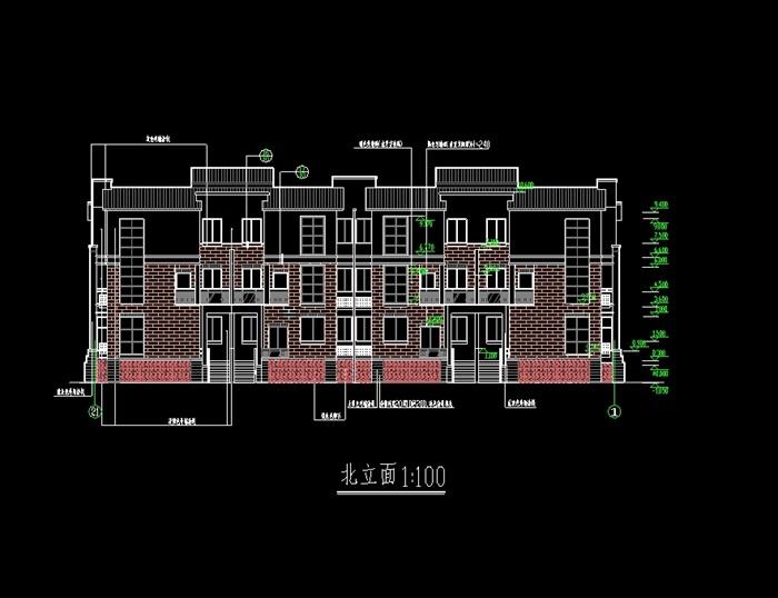 杭州精品排屋别墅cad施工图(1)