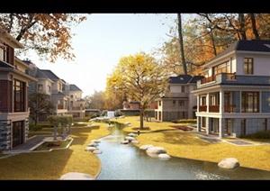 某新古典别墅区建筑设计psd效果图