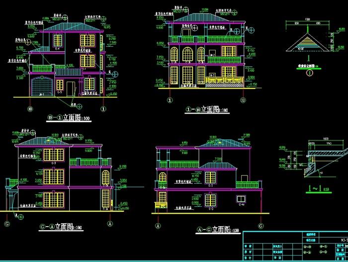 独栋别墅建筑设计cad施工图(1)