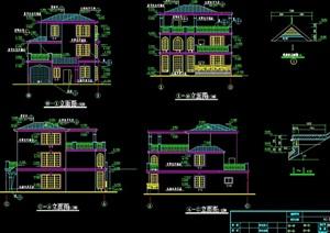 独栋别墅建筑设计cad施工图