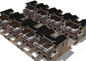 法式风格联排别墅SU(草图大师)模型