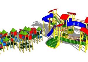 三個兒童游樂設施SU模型
