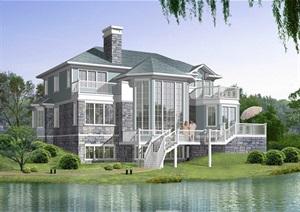 欧式坡地独栋别墅设计cad方案