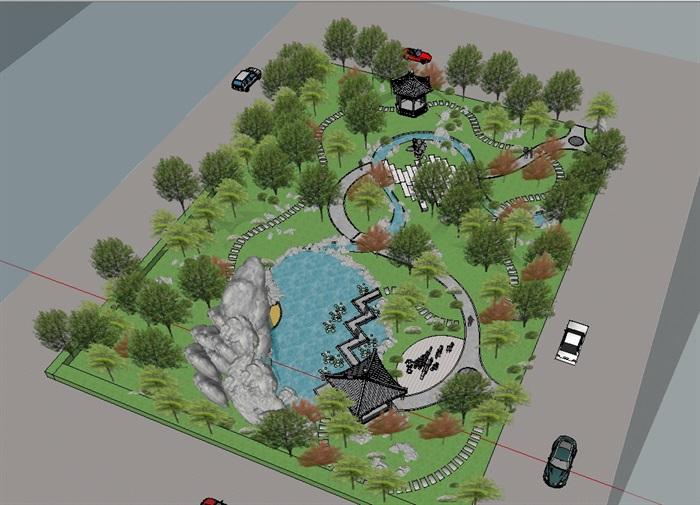 精品园林小游园景观SU模型(2)