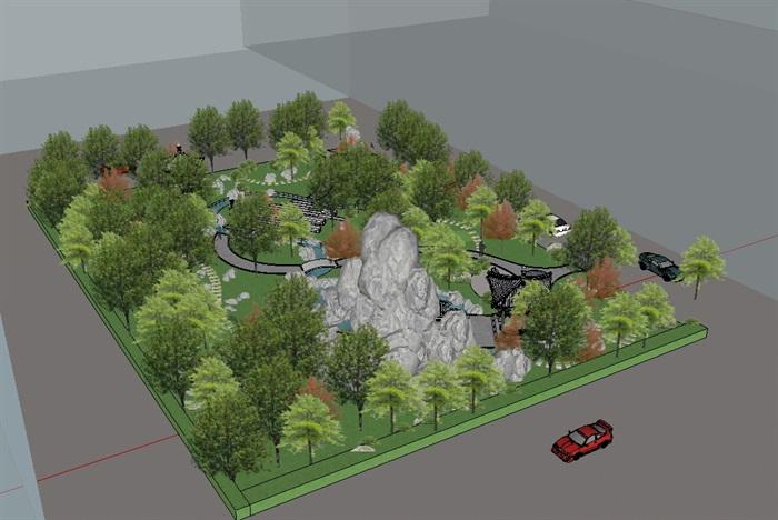精品园林小游园景观SU模型(3)