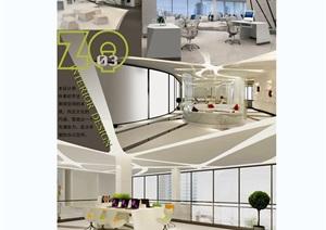 现代办公室毕业设计psd展板
