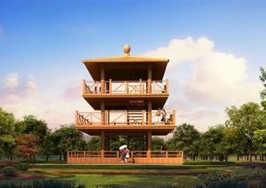 瞭望塔凉亭设计3d模型
