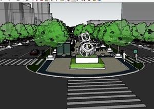 道路街道详细景观设计SU(草图大师)模型