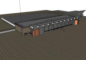 机场独特的建筑设计SU(草图大师)模型