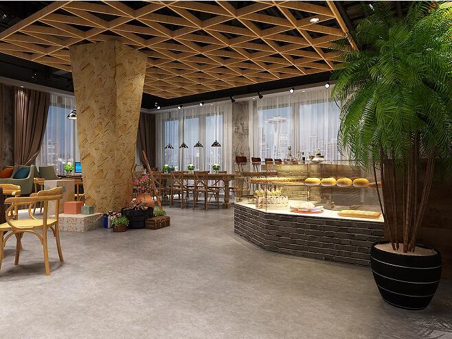 咖啡厅毕业设计CAD施工图3D模型带15张效果图