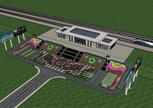火车站广场建筑设计SU(草图大师)模型