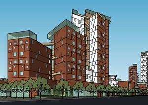 现代风格综合社区综合建筑设计SU(草图大师)模型