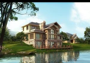 欧式风格独栋的别墅建筑psd效果图
