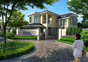 美式风格完整别墅设计psd效果图
