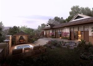 中式风格别墅完整设计psd效果图