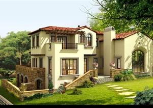 地中海风格别墅详细独栋设计psd效果图