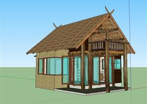精致的防腐木木屋住宅建筑模型