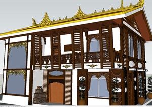 藏式新农村别墅住宅建筑SU(草图大师)模型