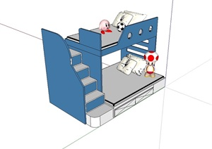 室内完整高低床SU(草图大师)模型
