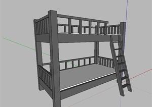 次卧室高低床SU(草图大师)模型