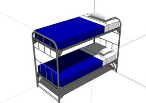 学生铁架高低床SU(草图大师)模型