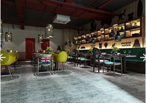 优秀咖啡厅毕业设计CAD施工图3D模型带15张效果图