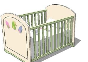 室内详细婴儿床SU(草图大师)模型