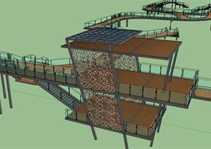现代主义风格滨水廊道设计SU(草图大师)模型