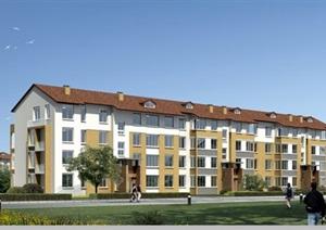 欧式多层住宅建筑psd效果图