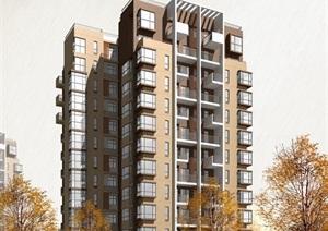 现代小高层住宅楼设计psd效果图
