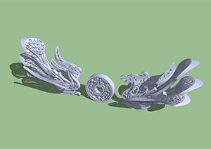 精品中式凤凰雕塑SU(草图大师)模型
