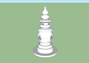 石灯塔小品实物雕塑设计SU(草图大师)模型