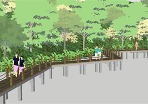 现代滨水景观栈道SU(草图大师)模型