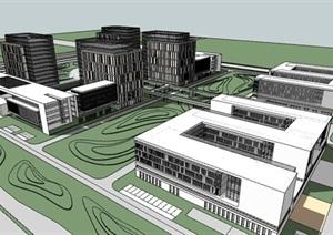 产业园办公建筑整体规划SU(草图大师)模型