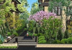 中式详细别墅宅间景观设计SU(草图大师)模型
