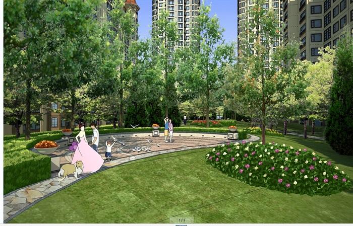 小区住宅中庭景观psd效果图(1)