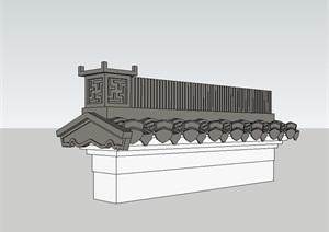 徽派马头墙建筑构件设计SU(草图大师)模型