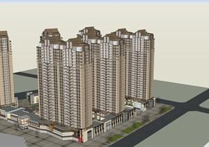 新古典风格高层小区建筑SU(草图大师)模型