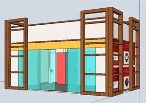 现代中式门庭设计SU(草图大师)模型