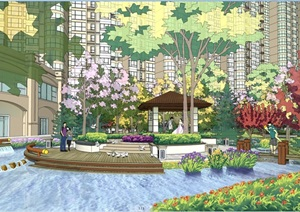 某详细住宅中庭景观psd效果图