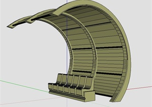 单边拱形凉亭设计SU(草图大师)模型