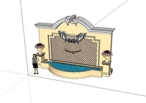 欧式豪华景墙SU(草图大师)模型